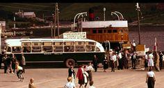 """Sogn og Fjordane fylke Høyanger kommune Kaupanger 1961 Rutebuss fra Sogn Billig og Fylkesbåtenes ferge """"Lærdal"""" Utg Normann"""