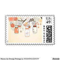 Mason Jar Orange Postage