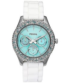 in love with this Fossil watch! New Fossil Women's Stella Aqua Face Teal Blue White Crystal Bezel Watch Bling Bling, Azul Tiffany, Tiffany Blue, Verde Tiffany, Tiffany Watches, Teal Blue, Aqua, Pink White, Jewelry Accessories