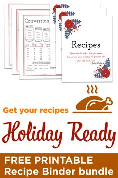 Get ready, get organized, get to it! Make your holiday baking and cooking a breeze with all of your recipes in one place. Download this FREE Recipe Binder Printable to get your recipes organized JUST in time.