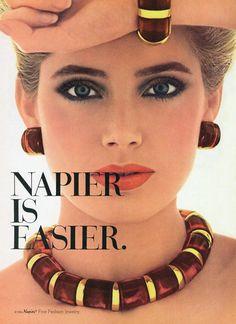 Kelly Emberg, Napier Is Easier ad Retro Advertising, Vintage Advertisements, Vintage Ads, Retro Ads, Vintage Makeup, 90s Jewelry, Enamel Jewelry, Fashion Jewelry, Jewlery
