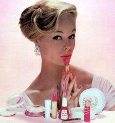 Vintage make-up ad with pink products. http://www.dazeddigital.com/fashion/article/17033/1/overdosing-on-pink
