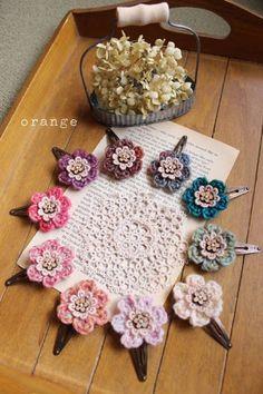 Inspiration.....crochet flower hair clips