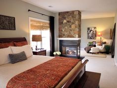 Master Bedroom Suite: Love this romantic stone fireplace! http://www.hgtv.com/decorating/bedrooms-on-a-budget-our-10-favorites-from-rate-my-space/pictures/page-13.html?soc=pinterest