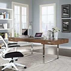 Contemporary home office with a Tinker series executive writing desk from Modway. Home Office Space, Home Office Desks, Small Office, Home Office Furniture, Furniture Decor, Large Office Desk, Modern Furniture, Sunroom Office, Open Space Office