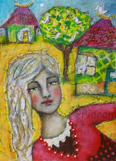 Home Sweet Home -  Original Mixed Media Painting  - Art by Piarom