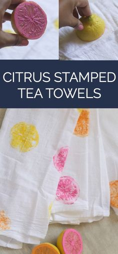 Citrus Stamped Tea Towels - This is a fun summer DIY/craft - use citrus fruit as a stamp to create an unique tea towel design. Fun Crafts For Girls, Girls Night Crafts, Craft Projects For Adults, Diy Crafts For Adults, Craft Night, Diy Home Crafts, Diy For Girls, Diy Craft Projects, Decor Crafts