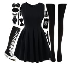 """""""On Wednesdays we wear BLACK"""" by lalalasprinkles ❤ liked on Polyvore featuring Wolford, Chicwish, Converse, Max Factor, Lime Crime, Trish McEvoy, Illamasqua, The Horse, Chanel and Casetify"""