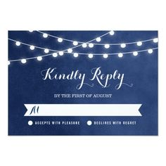 Summer String Lights Wedding RSVP Card Personalized Invites