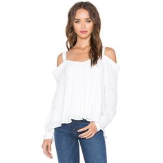 krisa Off Shoulder Blouse Tops (153,110 KRW) ❤ liked on Polyvore featuring tops, blouses, fashion tops, off shoulder tops, off the shoulder blouse, cut out blouse, white blouse and white cut out top
