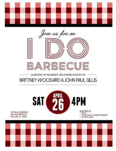 Engagement Party Invite I Do BBQ - I Do Barbecue - Wedding Shower - Summer Party Invitation - Let us do your custom work!