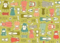 Dog-gone it (green) by Heatherdutton from spoonflower