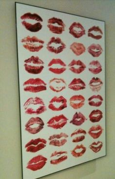 Cute bachelorette party idea, have all the girls that come wear lips stick kiss, the board ,and write there name, frame and always have there love with you . =)