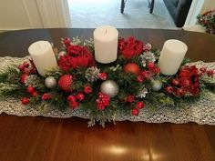 Christmas Centerpiece / XL Christmas Centerpiece/ Holiday Centerpiece / Mantle Decor / Red and Silver Centerpiece / Christmas Table Decor – Pillar Candles İdeas. Christmas Table Centerpieces, Christmas Candles, Xmas Decorations, Christmas Wreaths, Christmas Crafts, Etsy Christmas, Silver Centerpiece, Christmas Villages, Christmas Christmas