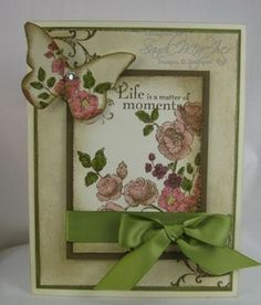 Love the antique look of this card. Stamping the focal image onto a butterfly punch/die makes for a great, co-ordinated embellishment.