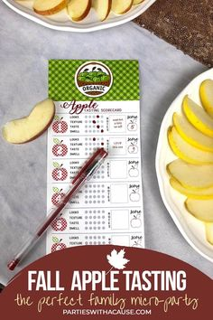 Ever wondered about the OTHER apples at the grocery store? How do they taste? Try them ALL and pick your favorites at a fun fall apple tasting party. Snag the scorecards and how to at Parties With A Cause. #fallactivity #appletasting #appleparty