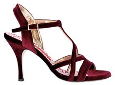 Bandolera Tango Ciniglia amaranto - natural suede with kid leather lining - soft padded insole with memory foam - brushed leather sole - precise construction & heel position for exceptional stabilit Tango Shoes, Dancing Shoes, Lace Print, Bari, Vintage Accessories, Bordeaux, Black Suede, Velvet, Heels