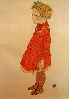 Little Girl with Blond Hair in a Red Dress - Egon Schiele, 1916
