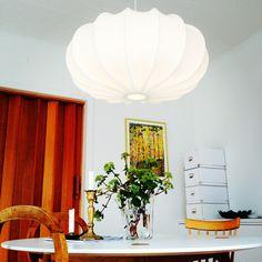 Stor taklampa 80 cm bomull 3 olika färger via Lampverket unika lampor