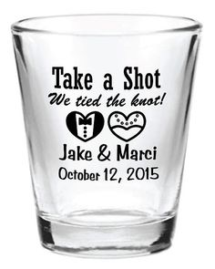 Wedding Gifts For Guests 144 NEW Personalized Wedding Favors Glass Shot Glasses 2015 Custom Bride Cheap Favors, Personalized Wedding Favors, Unique Wedding Favors, Wedding Party Favors, Wedding Guest Gifts, Wedding Favours Shot Glasses, Wedding Invitations, Wedding Souvenirs For Guests, Wedding Giveaways For Guests