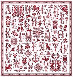 Glorious Sampler - Marquoir rouge au point de croix de Clorami Designs. www.clorami-designs.be: