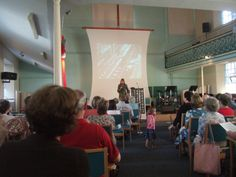 Sophie Neville speaking on 'China's Bestseller' at the Baptist Church in Lymington, Hampshire, UK