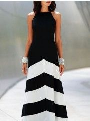 Sparkling Spaghetti Strap Blended Striped Maxi-dress
