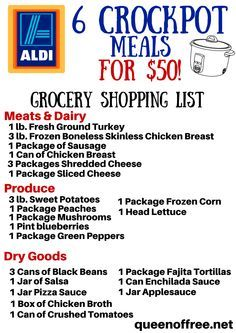 Crockpot ALDI Grocery List - Queen of Free - Crockpot Recipes Budget Meal Planning, Cooking On A Budget, Freezer Cooking, Crock Pot Cooking, Freezer Meals, Crockpot Dishes, Crockpot Cheap Meals, Cheap Meals For 6, Food Budget
