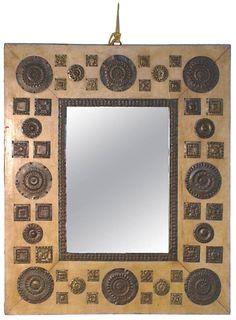 late CARLO BUGATTI mirror, manufactured in 1940, 28 x 34 inches