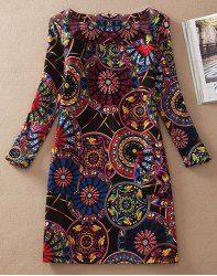 Stylish Scoop Neck 3/4 Sleeve Slimming Printed Women's Dress