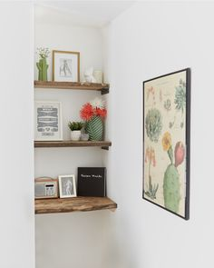 Reclaimed wooden shelves adorned with ornaments and florals, modern home interiors, Wooden Shelves, Floating Shelves, Cornish Cottage, Cornwall Cottages, North Cornwall, Pubs And Restaurants, The White Company, The Good Old Days, Decorating Blogs