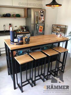 Industrial Kitchen Island, Diy Kitchen Island, Industrial House, Wooden Kitchen, Industrial Interior Design, Home Interior Design, Kitchen Room Design, Kitchen Decor, Modern Home Bar