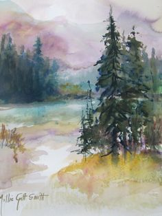 Original LANDSCAPE WATERCOLOR BY MILLIE GIFT SMITH  22/15  Pines  mountains
