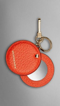 Mirror Key Charm in Signature Grain Leather Vibrant Orange | Burberry