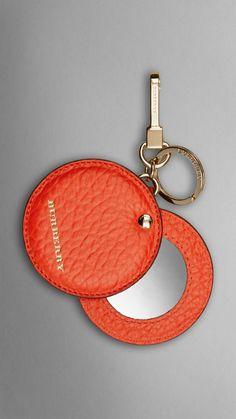 Mirror Key Charm in Signature Grain Leather Vibrant Orange | Burberry