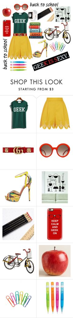 """""""back to school"""" by toddie2145 ❤ liked on Polyvore featuring Temperley London, Gucci, Alexander McQueen, Jimmy Choo, Casetify, Dot & Bo and Cost Plus World Market"""