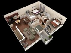 25 More 3 Bedroom 3d Floor Plans House Plans House And