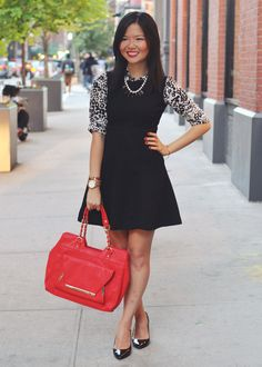 Skirt The Rules Blog; NYC fashion blogger; how to style a little black dress; how to wear a shirt under a dress; Zara black a-line skater sk...