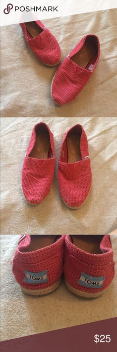 Women's TOMS size 5.5 Beautiful gently used coral colored TOMS. Have a lot of life left in them. Size 5.5 Toms Shoes Flats & Loafers