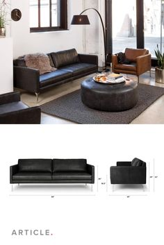 Steel legs accentuate the natural variations in this sofa's supple leather upholstery. Black Leather Sofa Living Room, Brown Couch Living Room, Black Leather Sofas, Manly Living Room, Home And Living, Living Room Decor, Contemporary Leather Sofa, Unique Sofas, Living Room