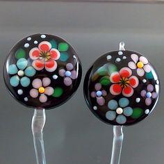 PIKALDA=handmade lampwork 2 beads earring pair blossom black=SECRET GARDEN=SRA