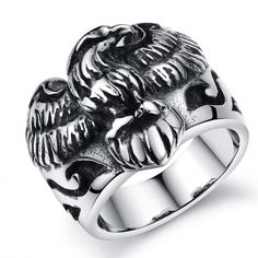 bb6a7c7fa5bb New Punk Eagle Hawk Stainless Steel Ring Mens Boys Band Size Silver Black  in Jewelry   Watches