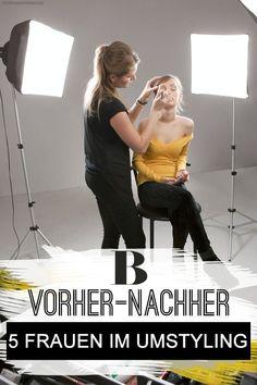 Vorher-Nachher Make-up: 5 Frauen im Umstyling. Unsere fünf Leserinnen aus unserer großen Vorher-Nachher Make-up-Aktion wissen zwar, was ihnen gut zu Gesicht steht. Aber jede hat da noch ein Anliegen: mehr Frische, Sinnlichkeit, Kontur, Beauty ... Wir haben ihnen Tipps für ihren individuellen Look mit auf den Weg gegeben.