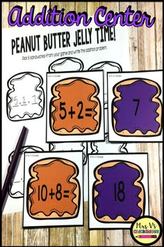 Addition to 20 Center: Peanut Butter Jelly Time Math Stations, Math Centers, Hands On Activities, Math Activities, Phonics Lessons, Math Work, Math Intervention, Kindergarten Lesson Plans, Second Grade Math