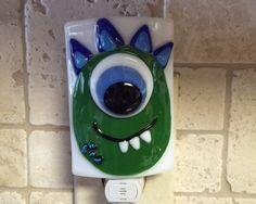Nightlight Fused Glass Happy One-Eyed Monster - Green