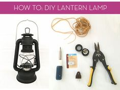 Easy DIY: How to Make a Lamp from a Rustic Oil Lantern - Famous Last Words Old Lanterns, Vintage Lanterns, Lanterns Decor, Make A Lamp, How To Make Lanterns, Rustic Lamps, Wood Lamps, Table Lamps, Rustic Decor