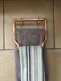 Industrial Style Copper Double Towel Holder