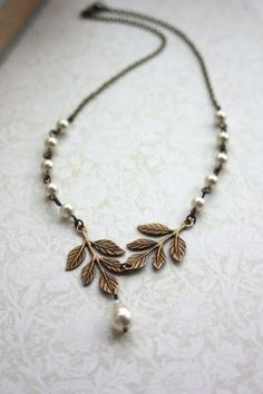 Wedding Jewelry. Bridal Necklace. Brass Leaf Ivory