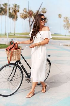 With Love From Kat // Bike Ride to Santa Monica. White off the shoulder ruffle midi dress+brown flat sandals+brown shoulder bag+sunglasses. Summer Casual Outfit 2017