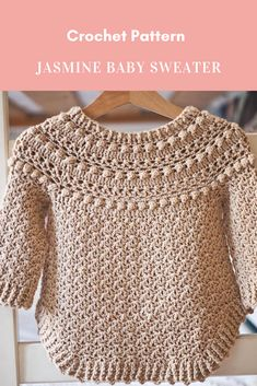 Crochet PATTERN - Jasmine Sweater (child sizes up to and adult size S/M) Crochet Jumper Pattern, Jumper Patterns, Knitting Patterns, Crochet Patterns, Baby Patterns, Crochet Baby Sweaters, Crochet Baby Clothes, Baby Knitting, Crochet For Kids